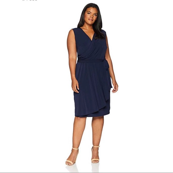 Plus Size Asymmetrical Wrap Dress Navy NWT NWT